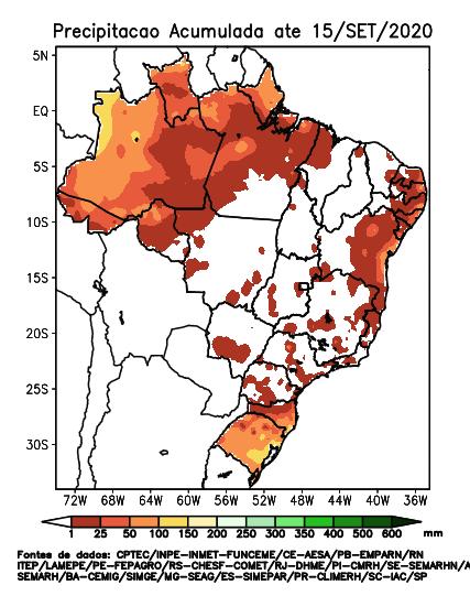 Setembro com tempo seco na maior parte do Brasil